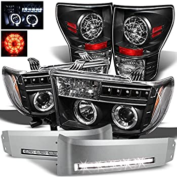 Xtune for 2007-2013 Toyota Tundra Black Halo Projector Headlights + DRL LED Conversion Kit + LED Tail Lights 2008 2009 2010 11
