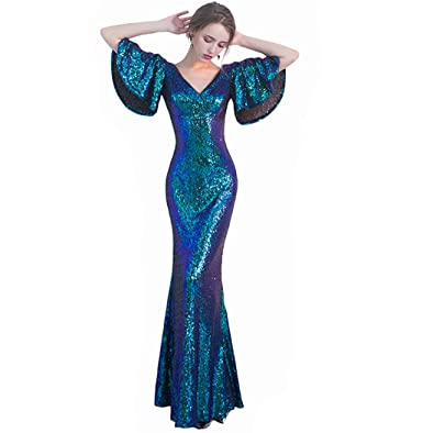 LeoGirl Womens Flutter Sleeves Ombre Sequin Long Mermaid Prom Dresses Sexy V-Neck Formal Gown