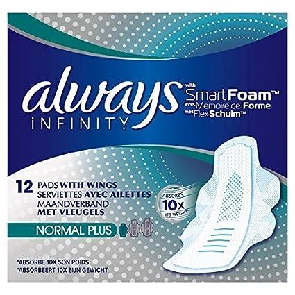 Siempre infinito normal plus toallas sanitarias con alas 12 por paquete por siempre