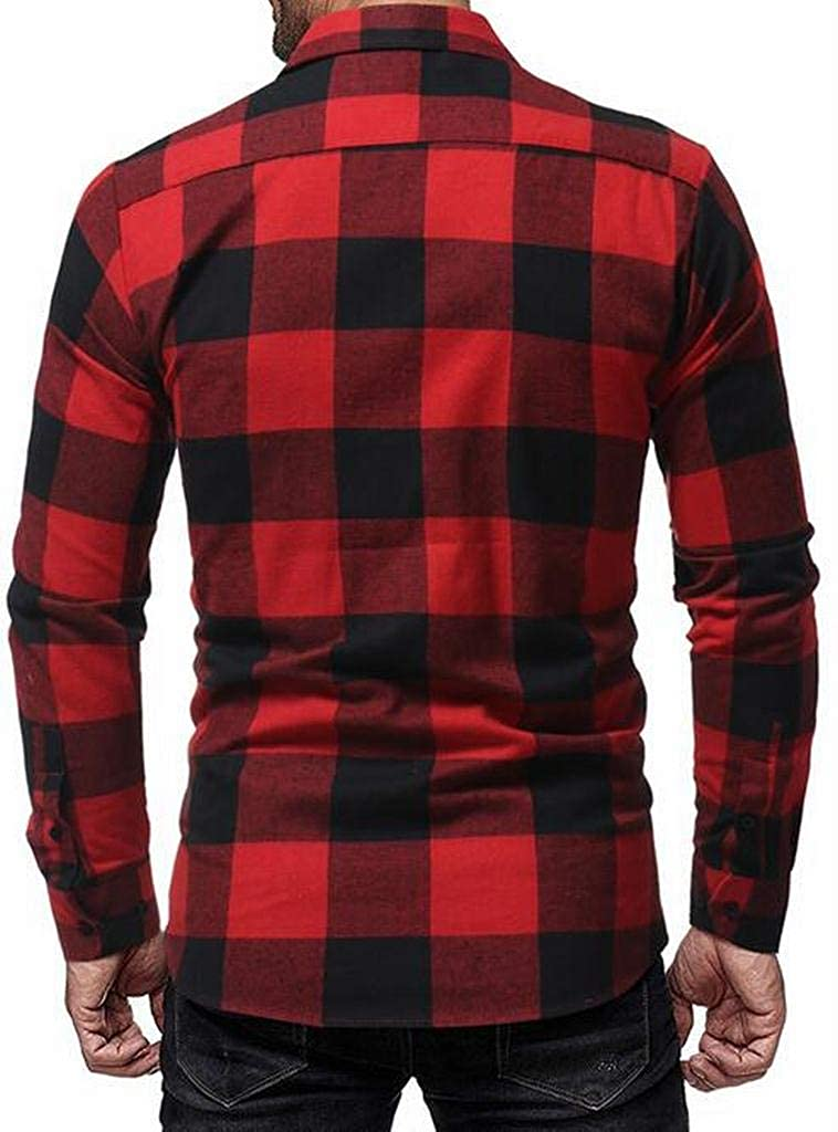 ARTFFEL Mens Checkered Button Up Long Sleeve Casual Business Dress Shirts