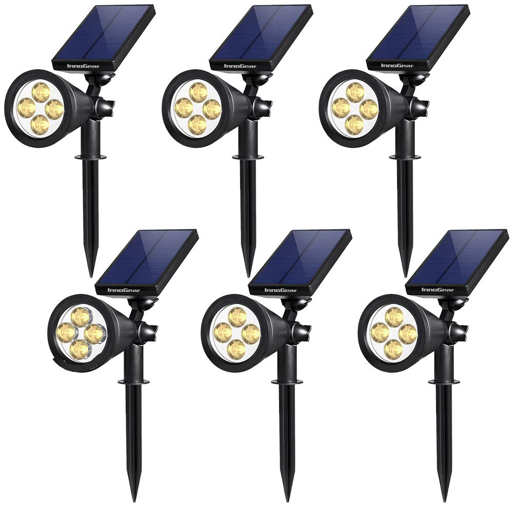 InnoGear Upgraded Solar Lights 2-in-1 Waterproof Outdoor Landscape Lighting Spotlight Wall Light Auto On/Off for Yard Garden Driveway Pathway Pool, Pack of 6 (Warm White)