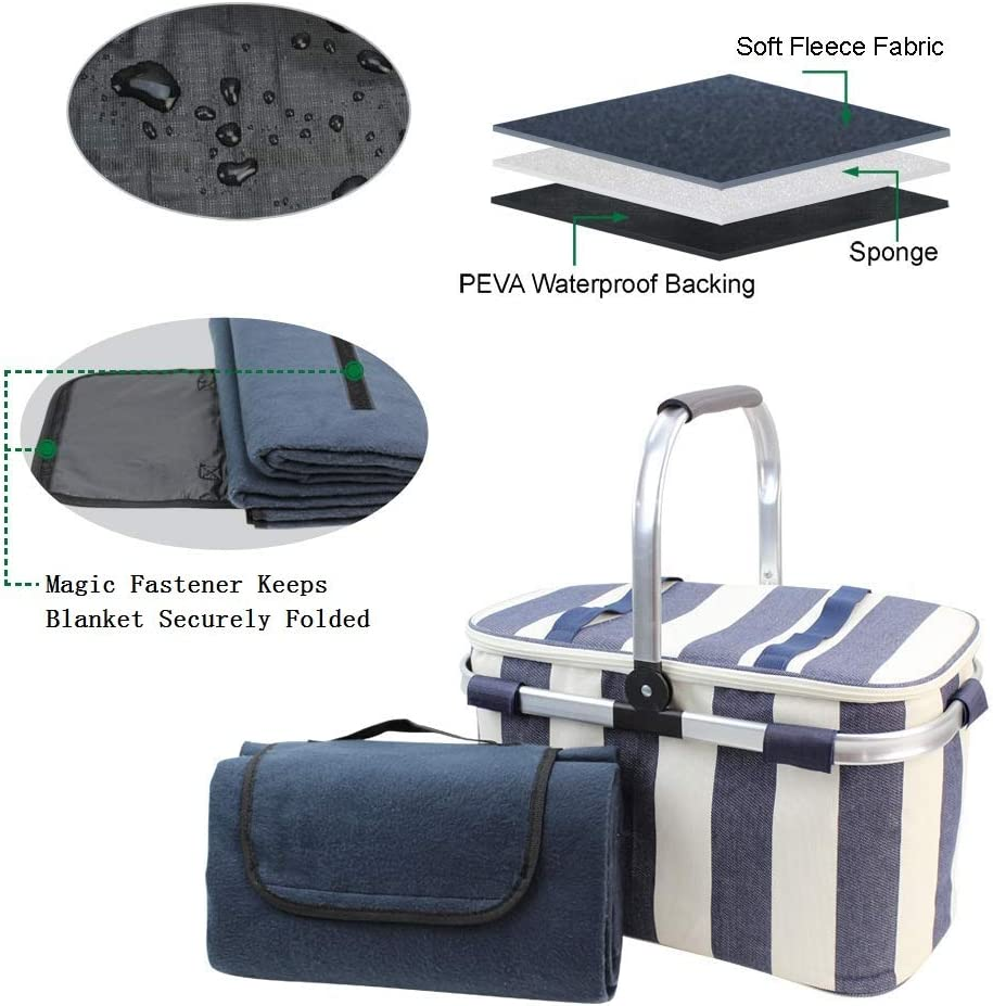 Picnic Basket with Waterproof Picnic Blanket for Outdoor Travel Camping HappyPicnic 25L Insulated Cooler Bag with Foldable Aluminium Handle Wide Navy Blue Stripe