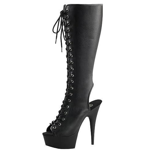 Summitfashions Womens Lace Up High Heel Boots Black Peep Toe Shoes Knee  High 6 Inch Heels d39573553e