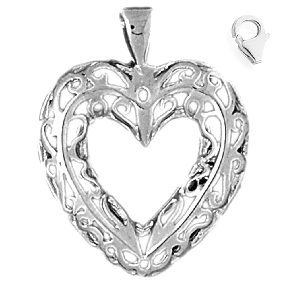 Sterling Silver 29mm Heart with 7.5 Charm Bracelet Jewels Obsession Heart Pendant