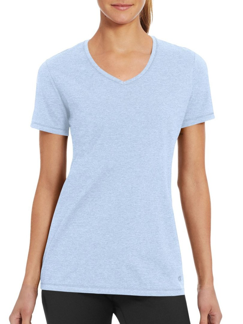 Champion Women's Double Dry Cotton Tee, Ocean Front Blue Heather, XXL