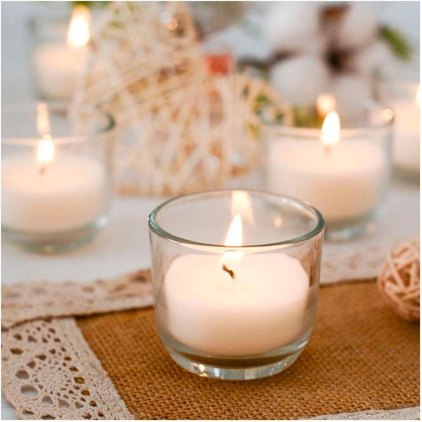 Supreme Lights Velas votivas en Vidrio Blanco, Juego de 24 hasta 5 Horas de Tiempo de combustión, Velas sin Perfume Transparentes para cumpleaños, Fiestas, Bodas, Celebraciones, hogar y Catering