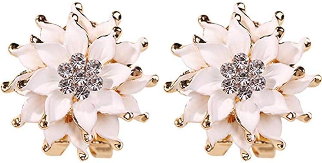 Pendientes Lady Lotus Pendientes de diamantes de imitación Pendientes de tuerca Pendientes de joyería de temperamento de flores Pendientes de oreja