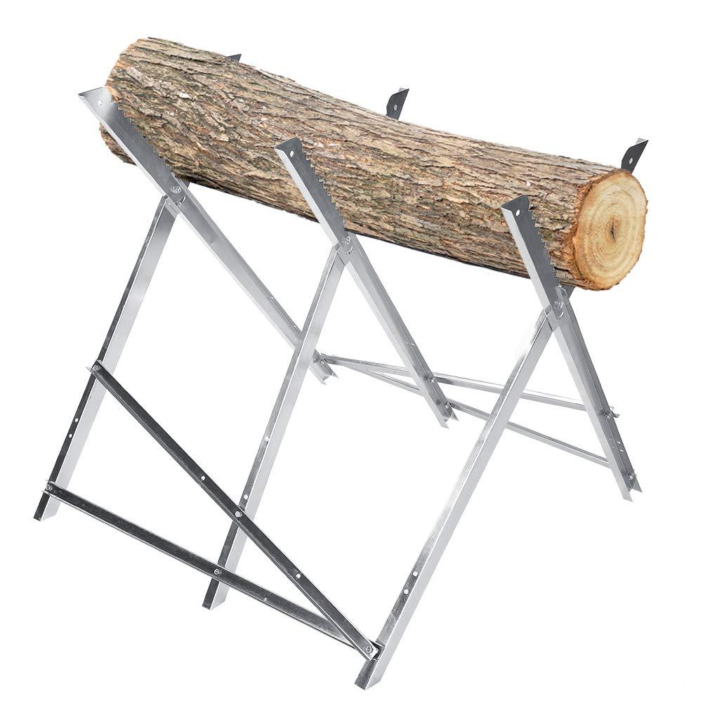 Cocoarm Folding Saw Horse Metal Log Cutting Stand Log Splitter 150kg Capacity Firewood Logging Timber Cutting Holder Support Shelf for Home Workshop