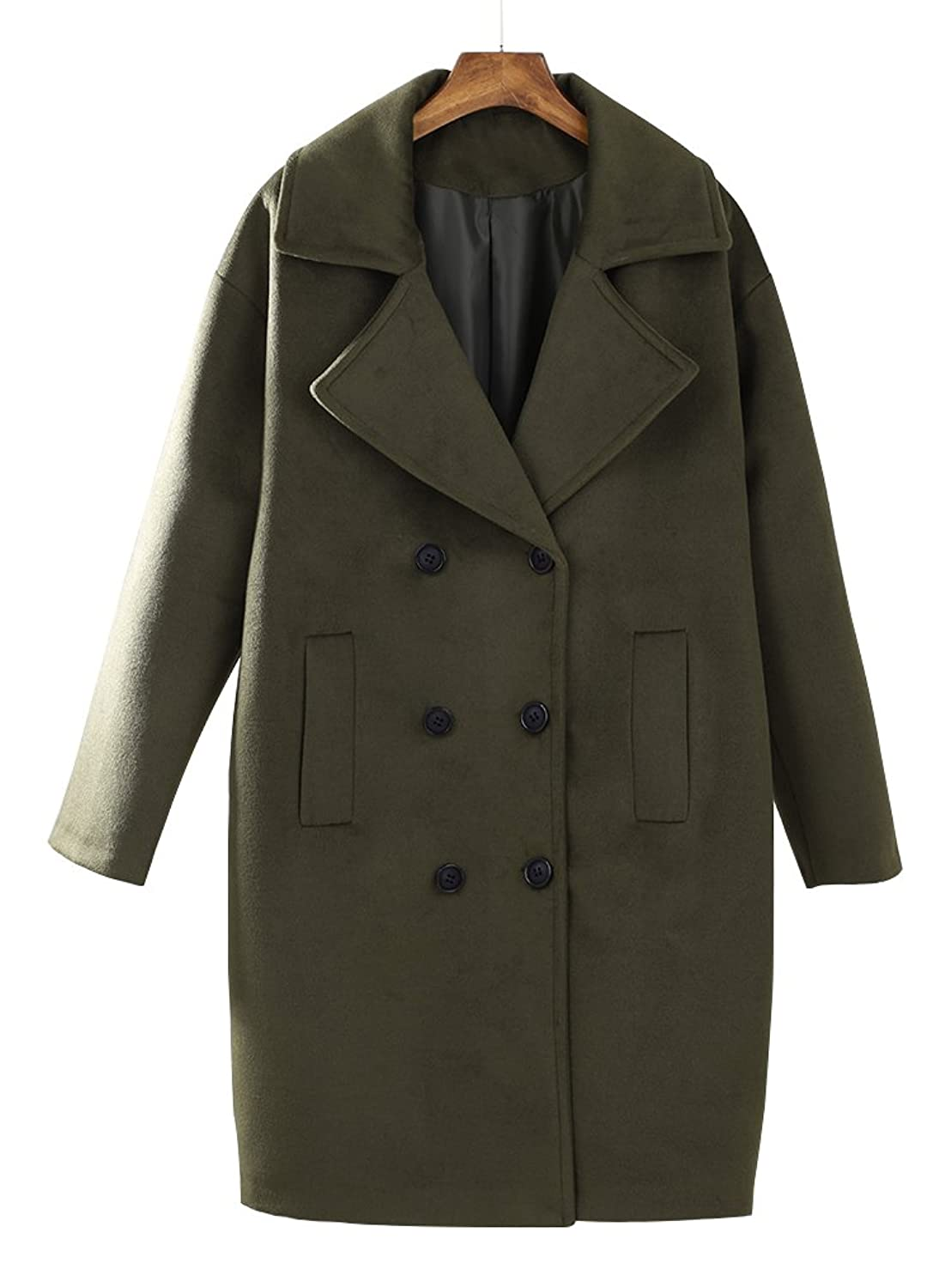 Women's Retro Army Green Autumn Wool Blend Coat with Double Breasted