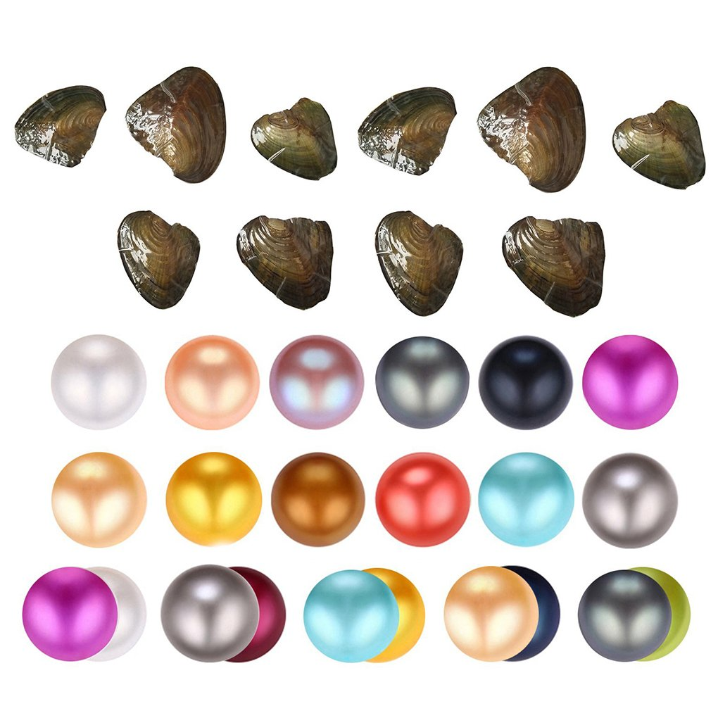 HENGSHENG 10PCS of Mix 16 Colors Single and Twins Individual Package 6-7mm Saltwater Nearly Round Akoya Pearl Oyster (10 PCS)