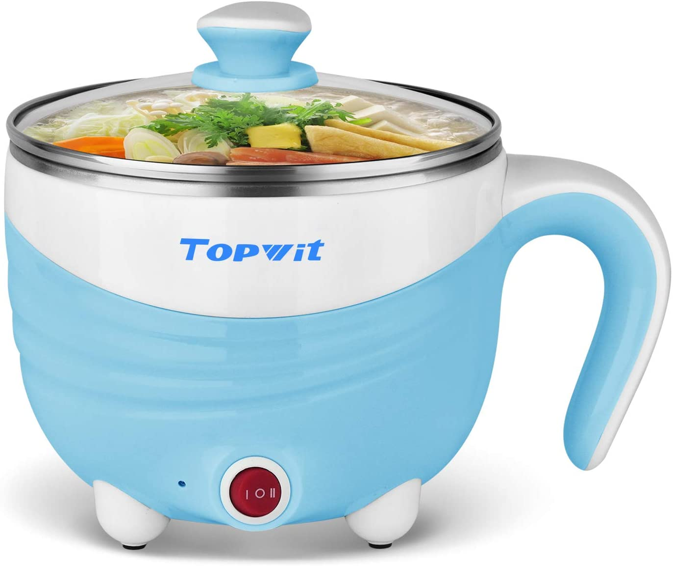 Electric Hot Pot 1.5L, Rapid Noodles Cooker, Mini Pot, Cook Perfect for Ramen, Egg, Pasta, Dumplings, Soup, Porridge, Oatmeal, Blue – A Must Have Cooker For Student Topwit