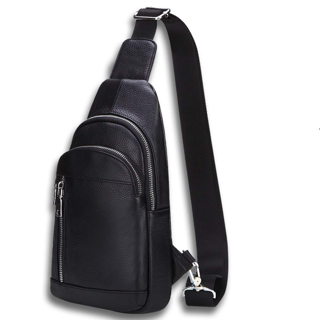 Color : Photo Color Carriemeow Men Chest Bag Genuine Leather Leisure Shoulder Bags Chest Bag Cowhide Student Bag