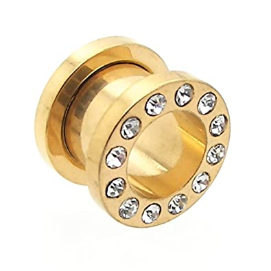Set Expansor Túnel Tunnel Plug Piercing y Dilatador Taper Piercing Oreja Color Oro Strass con piedras 1,6-10 mm, color:Tunnel golden / gold - 1.6mm: ...