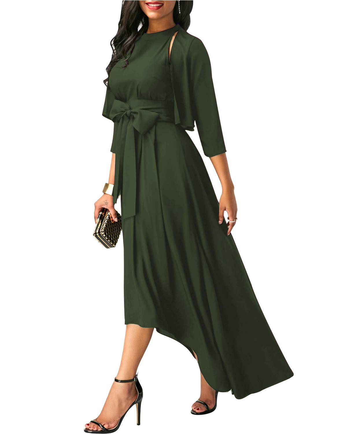 AUTCY Jacket+Belt+Dress Formal Asymmetrical Long Dresses for Women (2XL, Army Green)