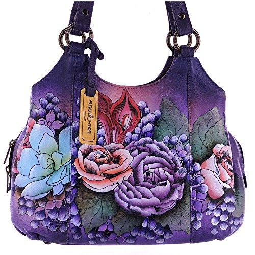 Hand Satchel Lush Painted Lilac Triple Handbag Anuschka Womens Medium Compartment Leather SxfSEg