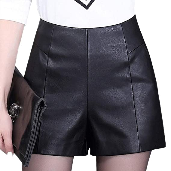 DISSA F7965 Shorts Pantalons Court Taille Haute Grande Taille Cuir PU Femme, Noir,M c294a99d76b1