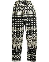Women's Bowknot Baggy Harem Pants Black & Cream Abstract Print Skinny Trousers