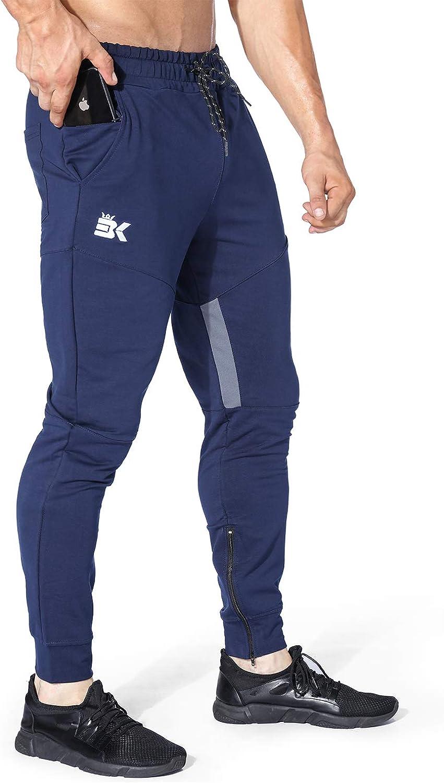 Brokig - Pantalones de chándal para hombre, ajustados, ajustados, para correr, con bolsillo con cremallera