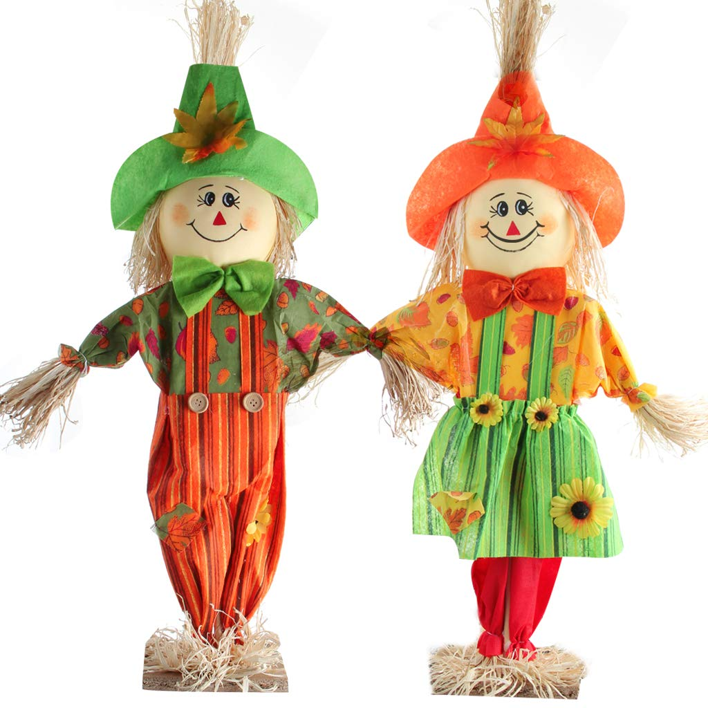IFOYO Small Scarecrow for Garden, 2 Pack Standing Scarecrow Happy Halloween Decorations Thanksgiving Decor Autumn Fall Harvest Decoration for Home, Outdoor, Yard, Porch (23.6in / 60cm, Smiling Face)