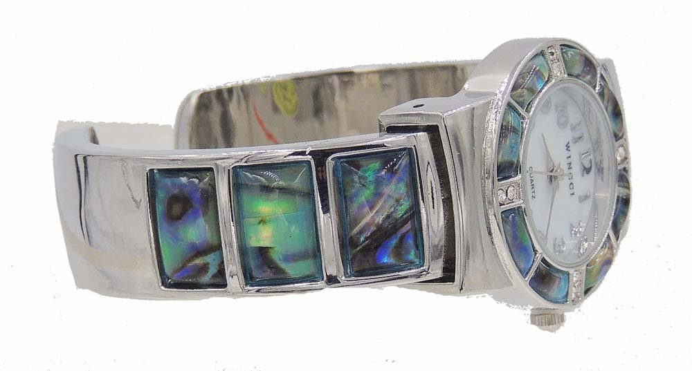 Abalone Watch Bangle Cuff Inlay Style with Crystal Accents by Wincci (Image #2)