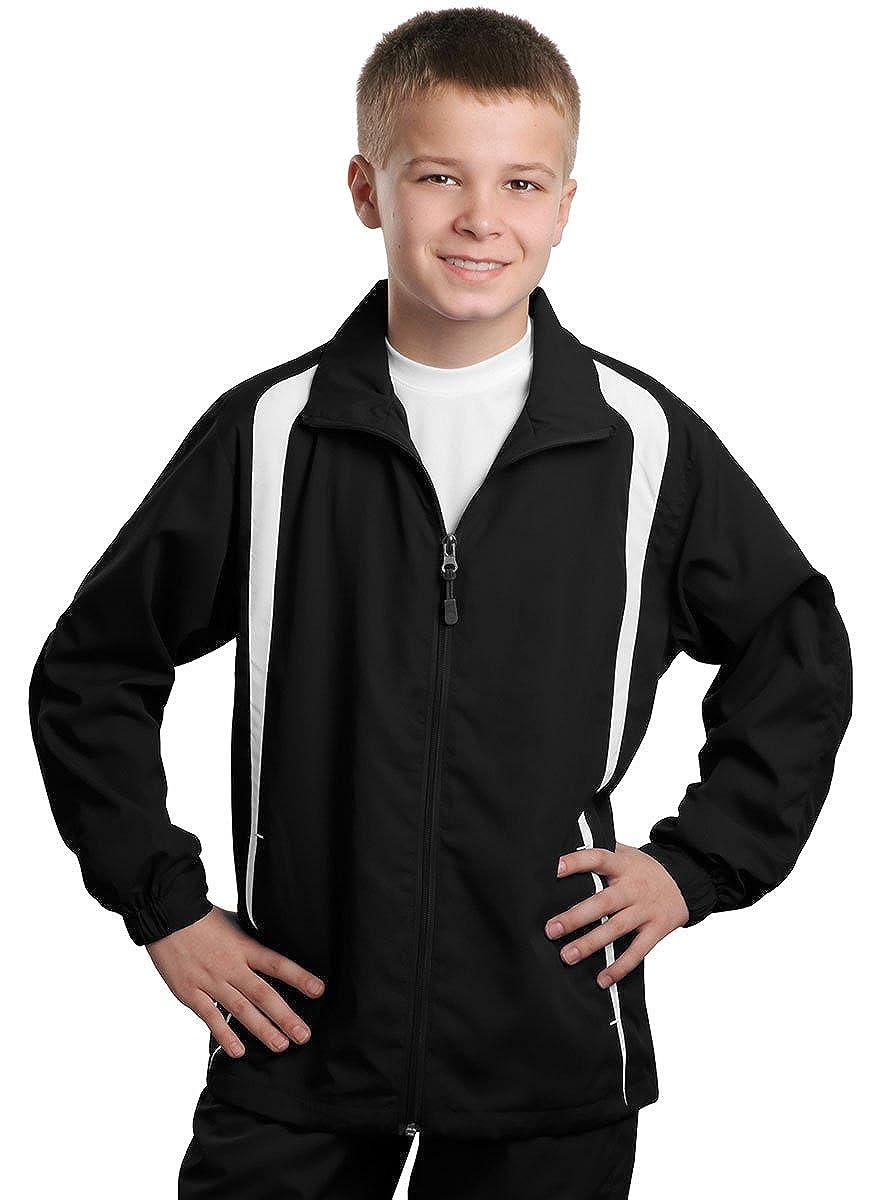 Black//White Large Sport-Tek Youth Athletic Colorblock Lightweight Raglan Jacket