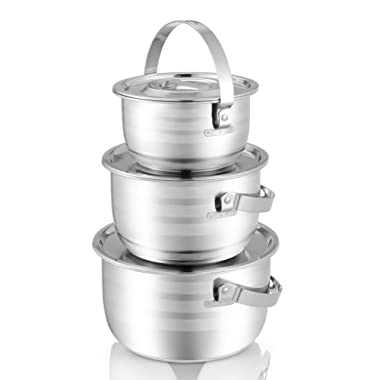 KINDEN Mixing Bowl Stainless Steel -12mm Composite Bottom Nesting Bowls with Handle and Lids for Pressure Cooker, Food Preparation, Fruit, Salad, Camping, Storage, Durable 3 Piece Set,2QT,3QT &4QT