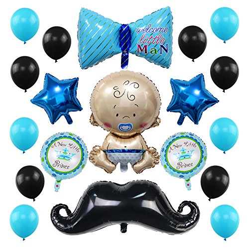 23 Pack Baby Shower Balloons Decoration, Welcome Baby Boy Party Decorations with Gentle Bow Tie Cute Little Man Mustache Blue Star Handsome Prince Balloons Blue and Black Boy Birthday Supplies