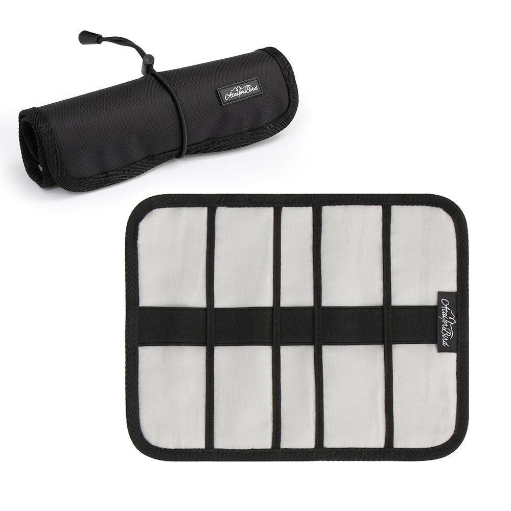 Roll-Up Electronics Organizer, ATailorBird Folding Small Gadget Storage Bag for Cables, Pens, Pencils, Earphones, Cosmetic Gadget or Other Electronics Accessories - Large
