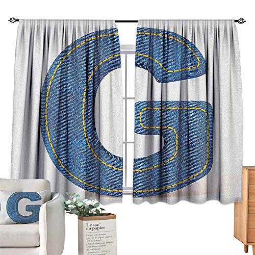 - homehot Letter GSolid Rod Pocket Short Blackout DrapesModern Denim Font Typeset Character Jeans Cloth with Stitches Uppercase PrintDarkening Blackout Curtain Blue Yellow. W63 x L45(160cm x 115cm)