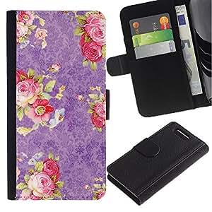 For Sony Xperia Z1 Compact / Z1 Mini / D5503,S-type® Pink Roses Wallpaper Retro Vintage - Dibujo PU billetera de cuero Funda Case Caso de la piel de la bolsa protectora