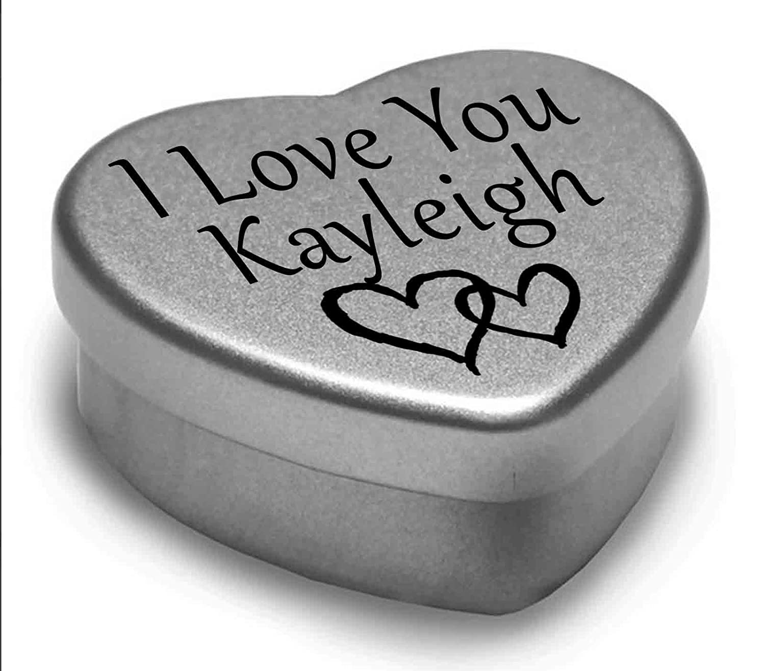 I Love You Kayleigh Mini Heart Tin Gift For I Heart Kayleigh With Chocolates. Silver Heart Tin. Fits Beautifully in the Palm of Your Hand. Great as a Birthday Present or Just as a Special Gift to Show Somebody How Much You Love Them. Gift In Can Ltd