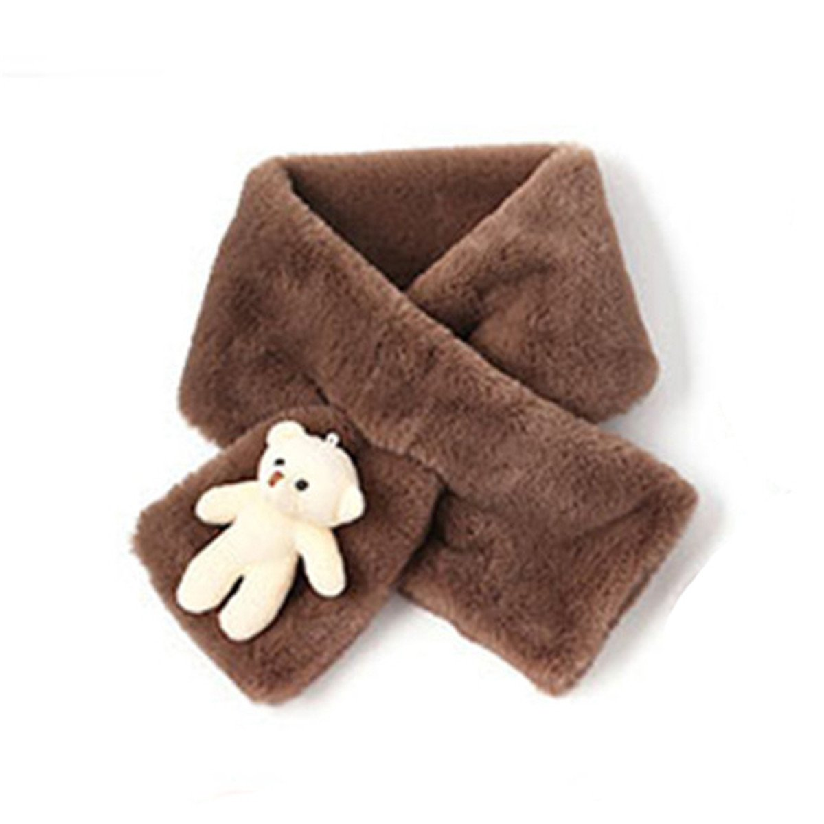 Children Winter Warm Scarf Soft Plush Neck Warmers with Cartoon Bear