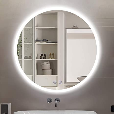 Amazon Com Citymoda Bathroom Mirror With Led Lights Modern Wall Mounted Makeup Mirror 24 Inch Round Frameless Backlit Bathroom Mirror Smart Dimmable Vanity Mirror Anti Fog 3 Led Color Adjustable