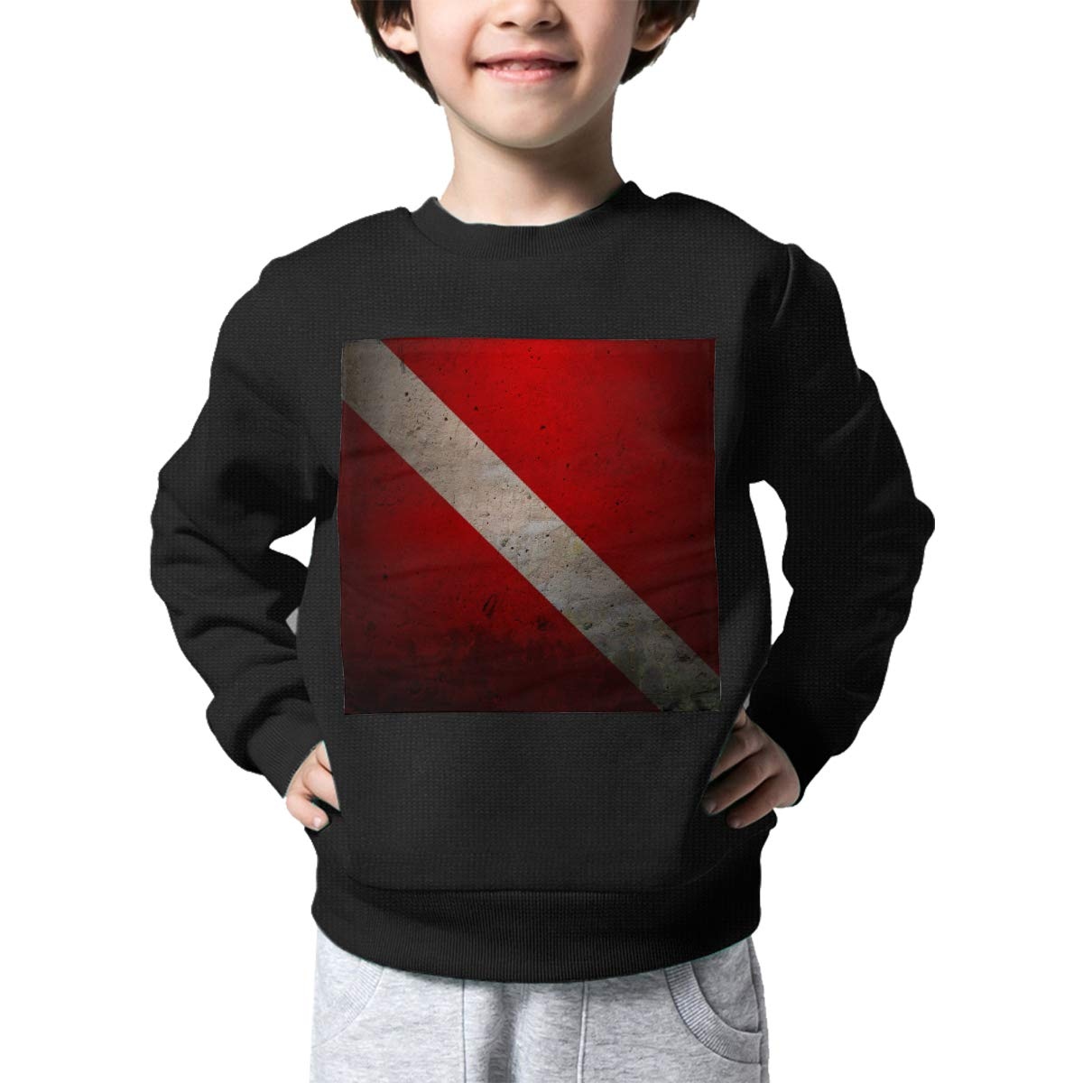Diving Flag Print Baby Girls Childrens Crew Neck Sweater Long Sleeve Warm Knit Top Blouse