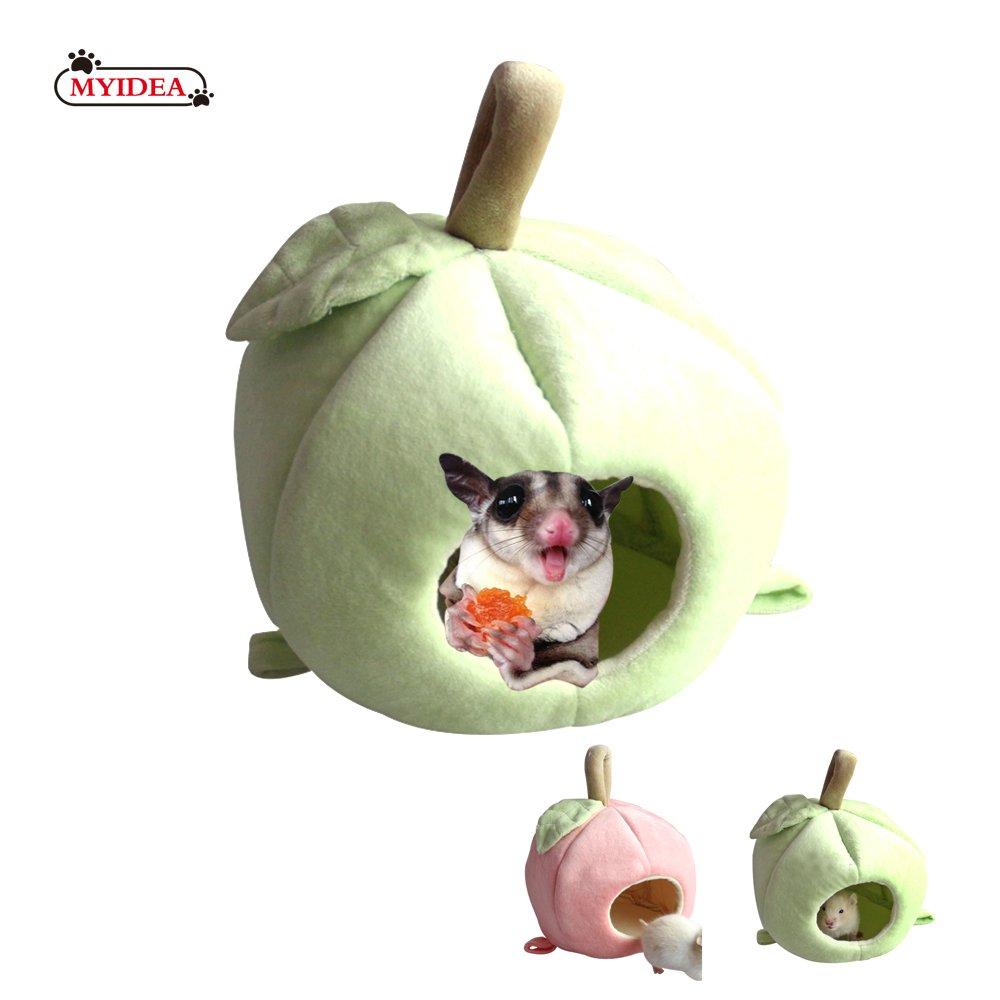 MYIDEA Lovely Apple Pet Nest - Fruit Sleeping House for Sugar glider/Hamster/Birds/Lizard (Red Apple Nest) (L, Green Apple Nest)