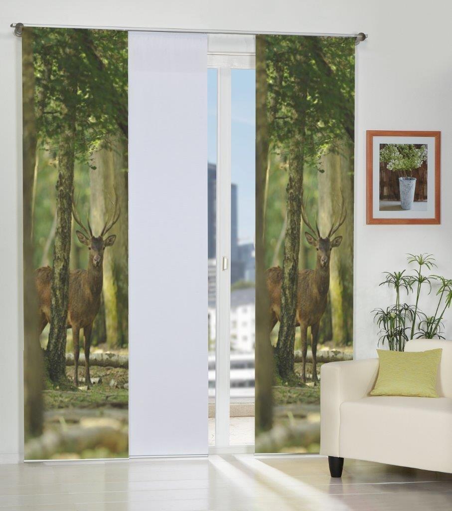 Home Fashion 3er-Set Flächenvorhänge HIRSCH, Deko-Stoff blickdicht, inkl. hochwertigem Zubehör