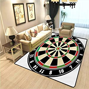 Sports Kindergarten Carpet Dart Board Numbers Sports Accuracy Precision Target Leisure Time Graphic New Modern Floor Rugs for Living Room Large Area Rugs Vermilion Green Black W5xL7 Ft