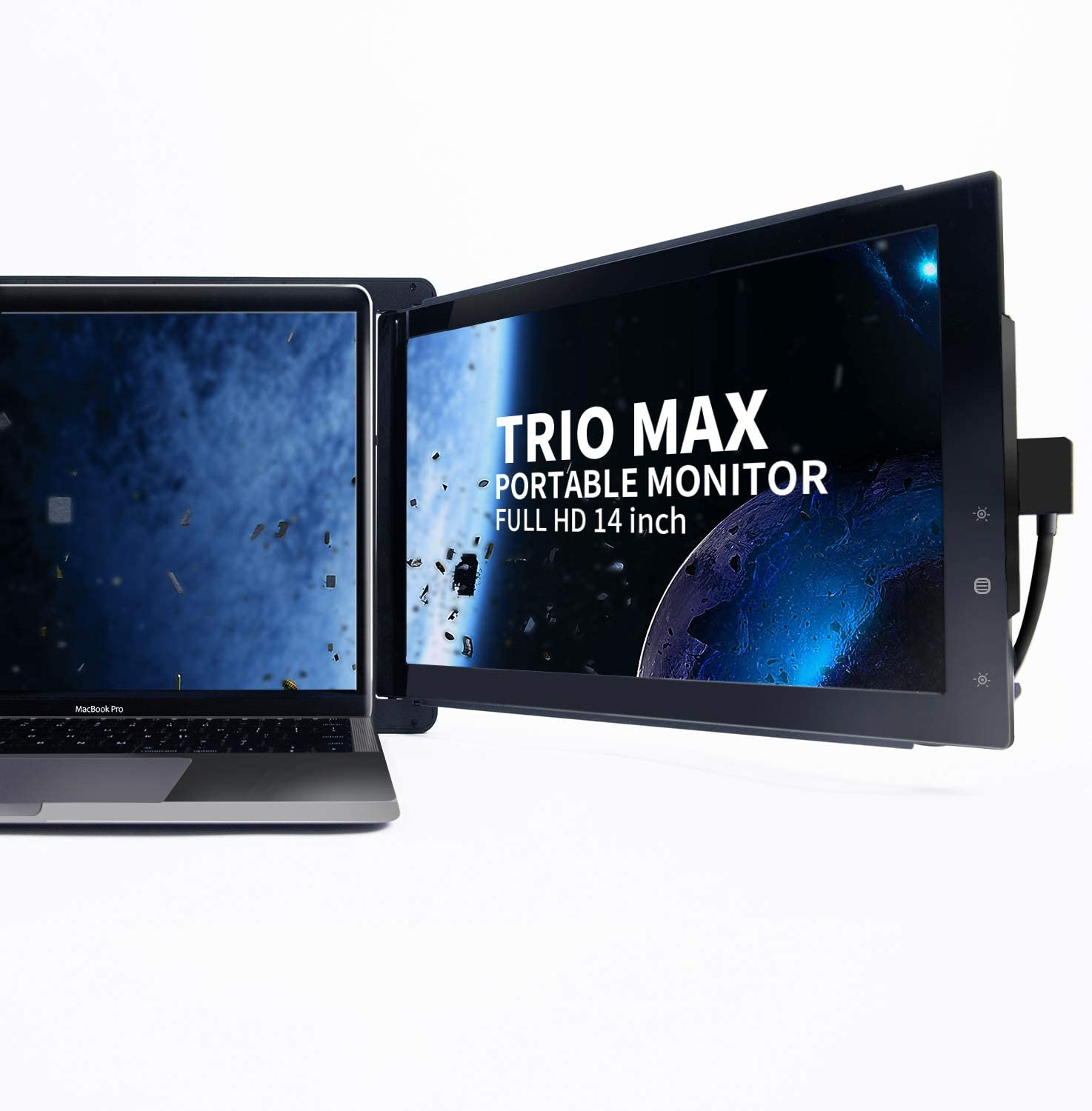 "Trio Max Slide Portable Monitor for Laptop with Extra Cord, 14"" FHD 1080P Attachable Second Laptop Screen,Lightweight Design 13-17"" Laptops Windows/OS/Android/Nintendo Switch(one max Screen)"
