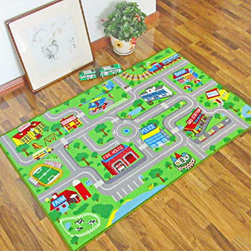 Rug Road Giant (HEBE Kids Rug Playmat Carpet City Life Extra Large 3.3' x 5.3' Educational Learning Road Traffic System Kids Area Rugs for Bedroom Living Room Playroom, Play with Cars and Toys,Machine Washable)