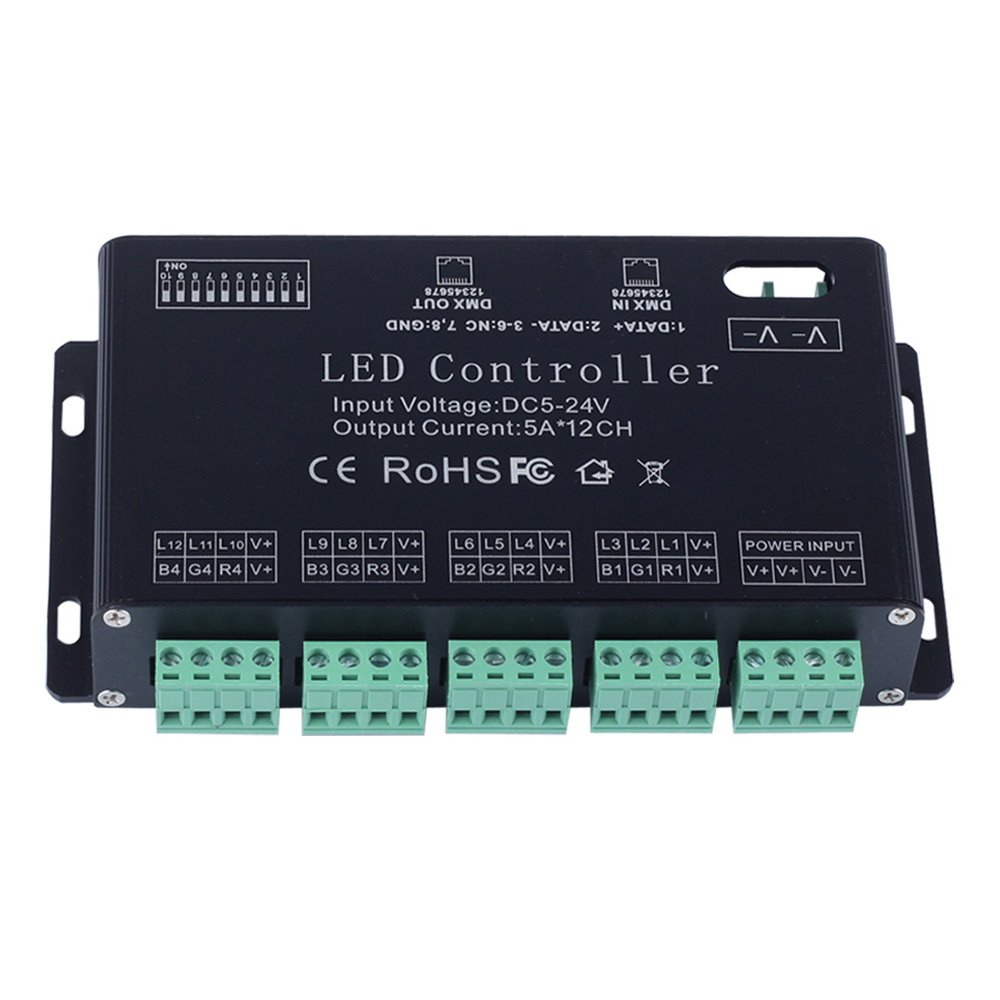 JCHUNL 12 Kanal RGB DMX 512 LED Controller Decoder Dimmer Treiber Für LED Streifen Modul Licht DC5V-24V New Hot