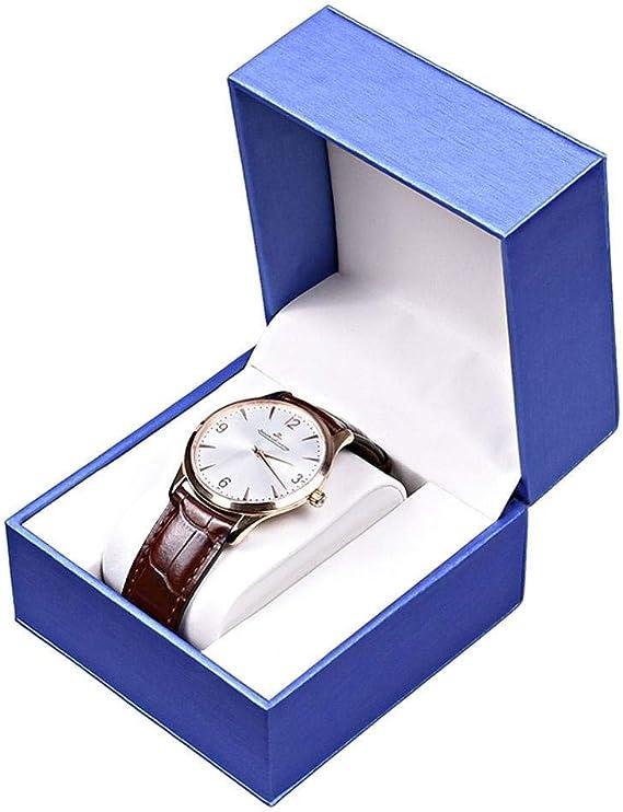 Portátil Caja para Relojes, Individual PU Piel Organizador para Relojes Hombre Mujer Portátil Porta Relojes Adecuado para Hogar Viajes Negocios-Azul Real-10x10x7.5cm(4x4x3Pulgadas): Amazon.es: Relojes