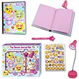 Diary For Girls - Gifts Set For Kids Ages 6 and Over - Secret Emoji Journal Notebook With Invisible Ink Pen and Blue Light - 100 Blank, Lined Pages, Clip On LED Book Light and Stickers