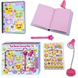Girls Diary - Gifts Set for Kids Age 5, 6, 7, 8, 9, 10 Years Old - Secret Emoji Journal Notebook with Invisible Ink Pen and Blue Light - 100 Blank, Lined Pages, Clip On LED Book Light and Stickers