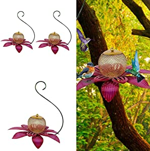 3PC Pink Metal Flower Bird Feeder Hanging Hummingbird Feeders For Outdoors with Large Food Bowl for Courtyard Backyard Garden Yard Decoration Outside Wild Bird Feeder Squirrel Proof Large Capacity