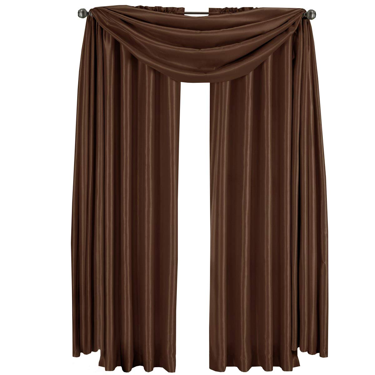 Royal Hotel Luxury Soho Chocolate-Brown Rod Pocket Window Curtain Drape, Solid Pattern, 42x108 inches