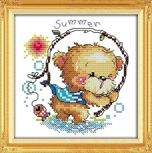 YEESAM ART® New Cross Stitch Kits Advanced Patterns for Beginners Kids Adults - Four Seasons Little Bear-Summer 11 CT Stamped 20x20 cm - DIY Needlework Wedding Christmas Gifts (Four Seasons Quilt Shop)