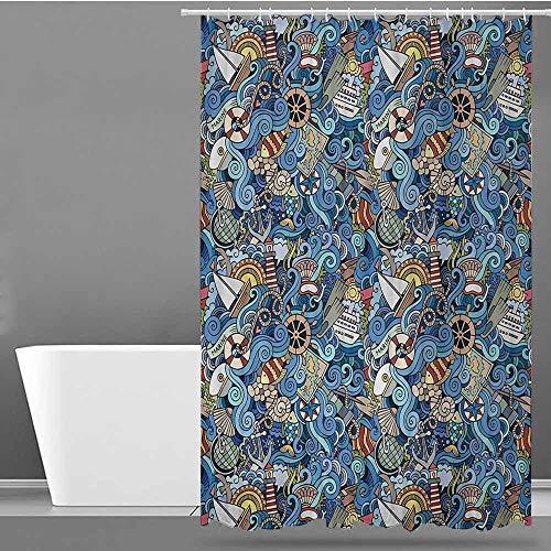 BDDLS Bathtub Splash Guard,Nautical Abstract Pattern Sea Shells Sea Horse Corals Fish Rob Globe Maps Wavy Ocean,Bathroom Decoration,W55x84L Blue Multicolor
