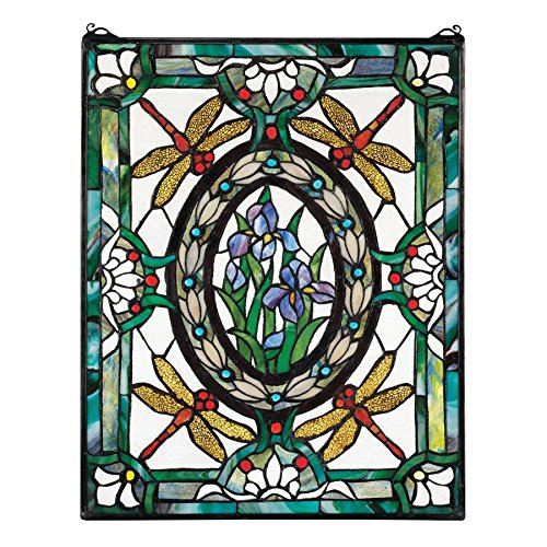(Design Toscano Dragonfly Floral Stained Glass Window Hanging Panel, 25 Inch, Stained Glass, Full Color)