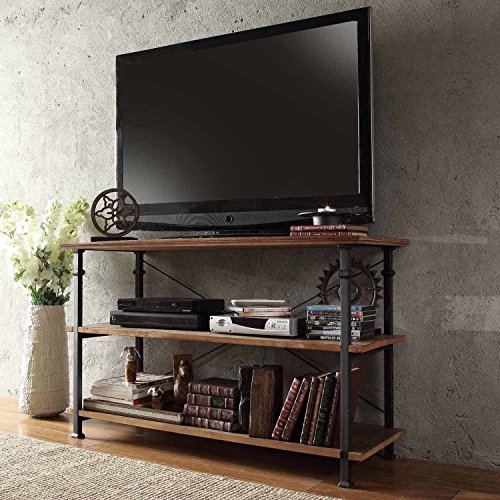 ModHaus Modern Industrial Light Brown Rustic Wood and Metal TV Stand - for Televisions up to 48 inches Includes ModHaus Living (TM) Pen (Tv Lcd Bookcase)