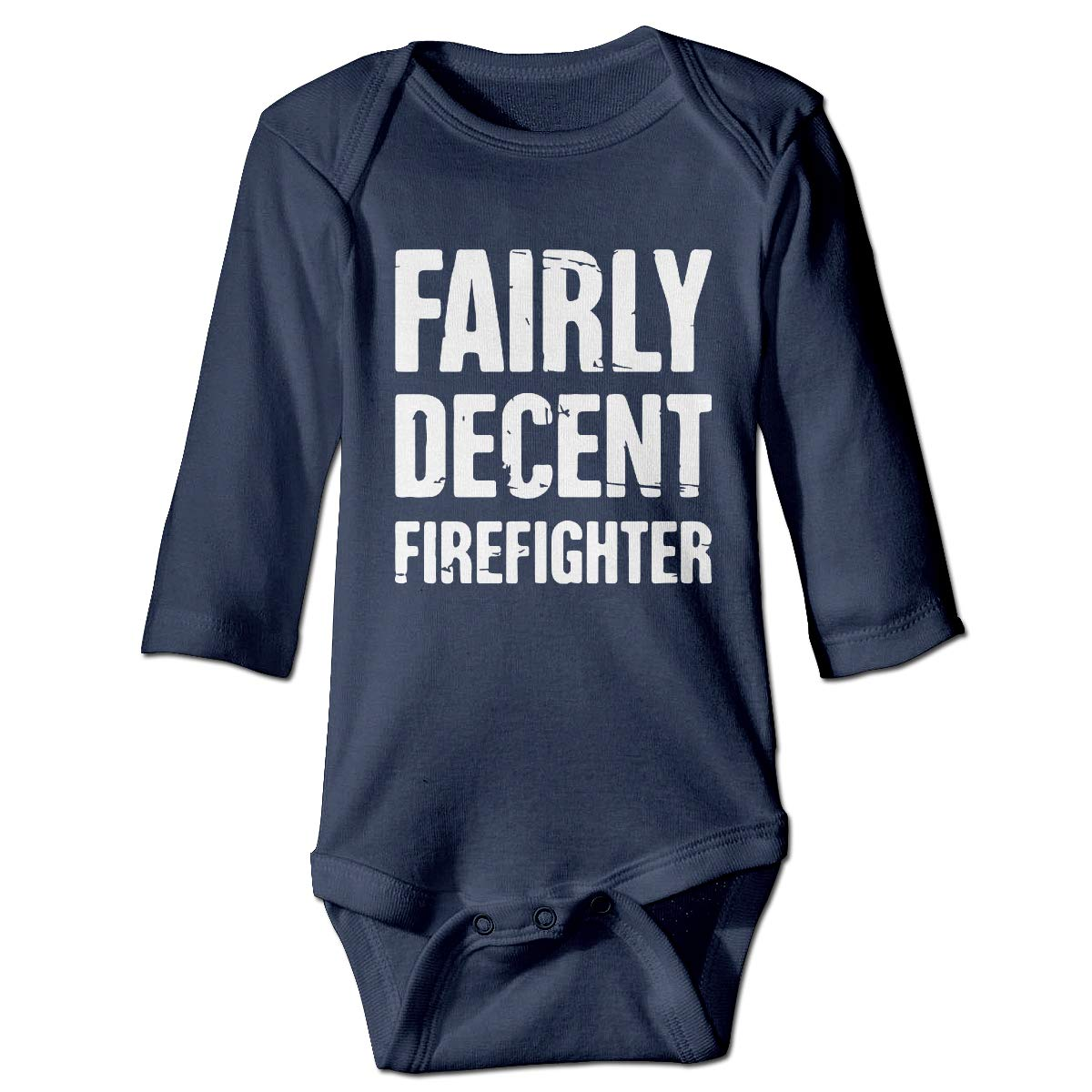 A14UBP Newborn Baby Boys Girls Long Sleeve Jumpsuit Romper Fairly Decent Firefighter Unisex Button Playsuit Outfit Clothes